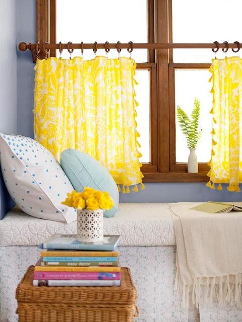 Невероятно красивые жёлтые шторы на люверсах