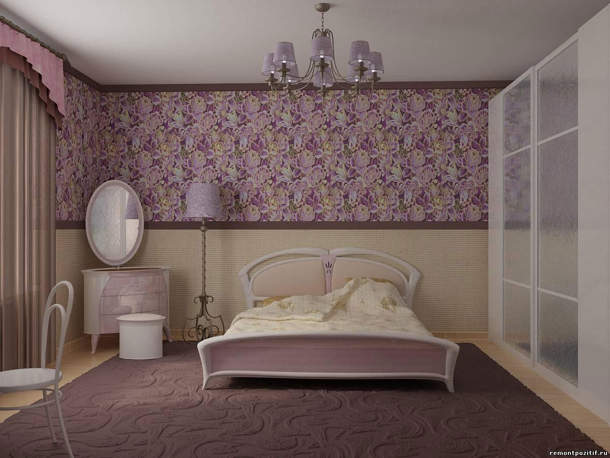 Комбинирование обоев в спальне горизонтального типа
