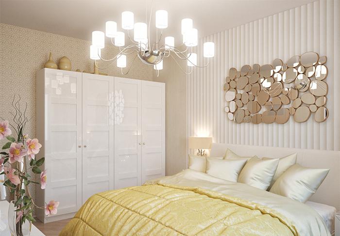 Маленькую спальню зрительно увеличат стены, оклеенные светлыми и с горизонтальными полосами обоями