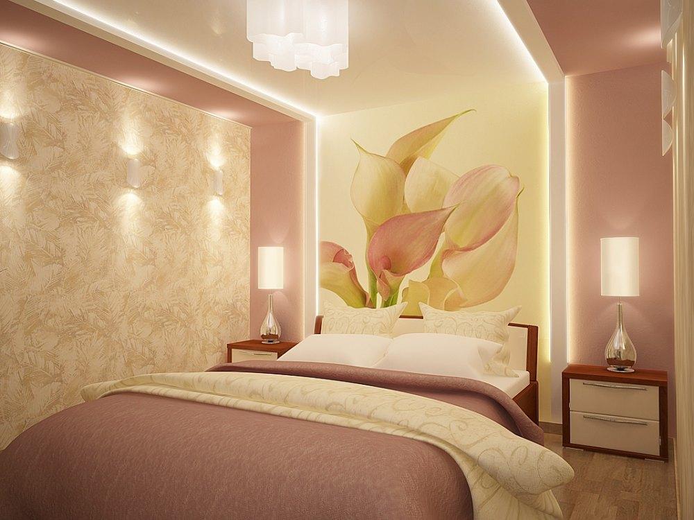 Подсветка в спальне романтического стиля