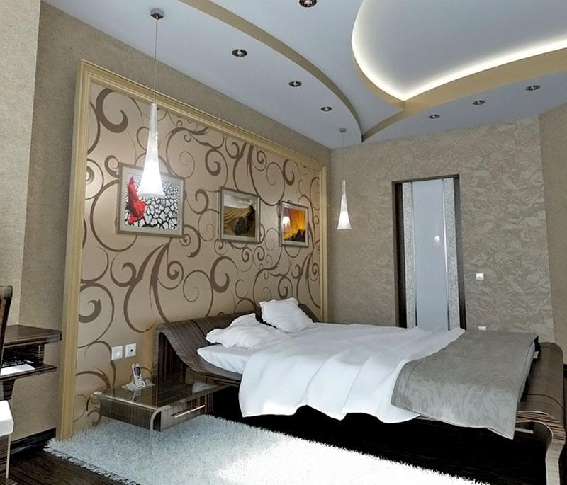 Спальня и двухуровневый потолок с подсветкой, фото