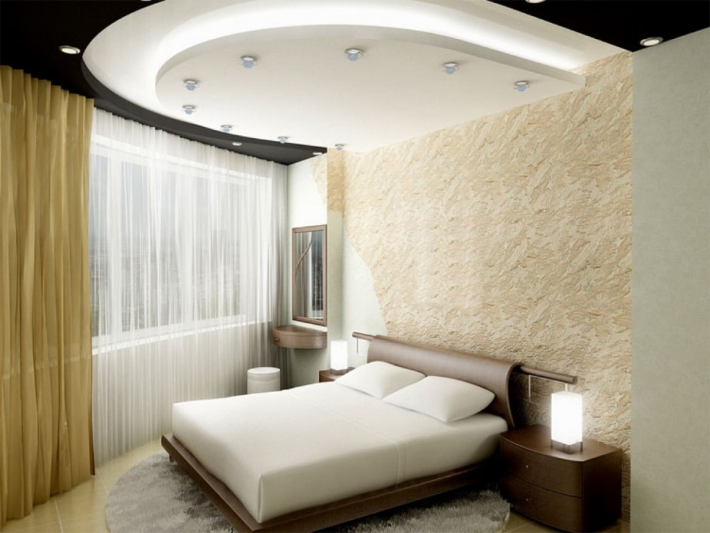 Спальня, потолок из гипсокартона