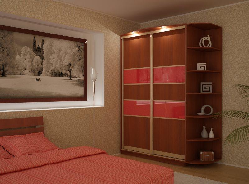 Шкаф орехового колорита прекрасное дизайнеркое решение в спальне