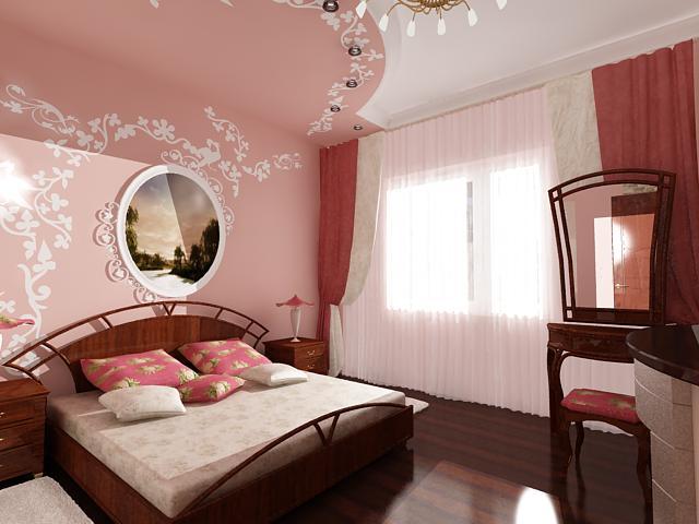 Необычное решение для потолков в спальне