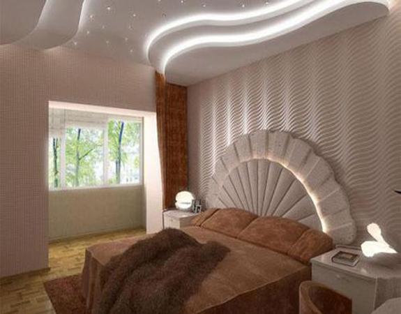 Потолки из гипсокартона в спальне многоуровневый