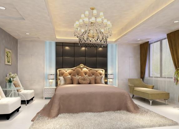 Роскошный потол в классической спальне