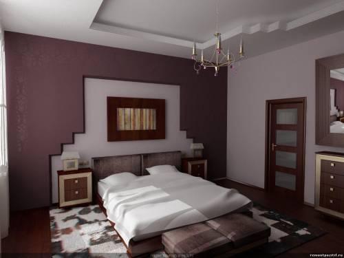 Потолок из гипсокартона белый с люстрой на верхнем ярусе