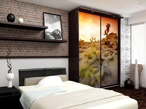 Дизайн с красивой фотопечати в интерьере шкафа спальни