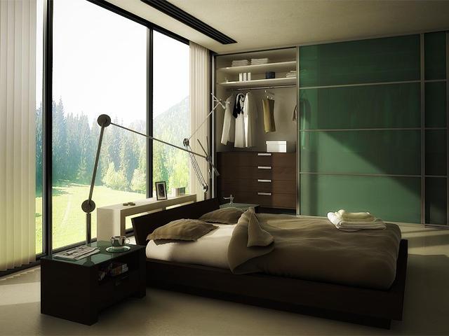 Шкаф в дизайне которого имеется сплошной зеленый цвет, идеален в данном помещении